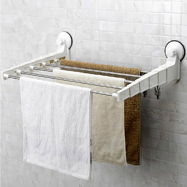 Bathroom Stainless Steel Folding Towel Rack Strong Suction Cup Towel Rack  Drying Rack Retractable Drying Rack