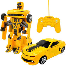 Action Figure RC Transformation Toys One key Remote Control Car Bumblebee Big Size 360 Rotating Genuine Voice USB Charger