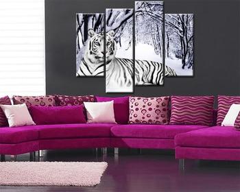 Pintura de pared modular 4 unidades pinturas de tigre blanco animal impresión del arte de la pared en la lona para la decoración casera sin marco