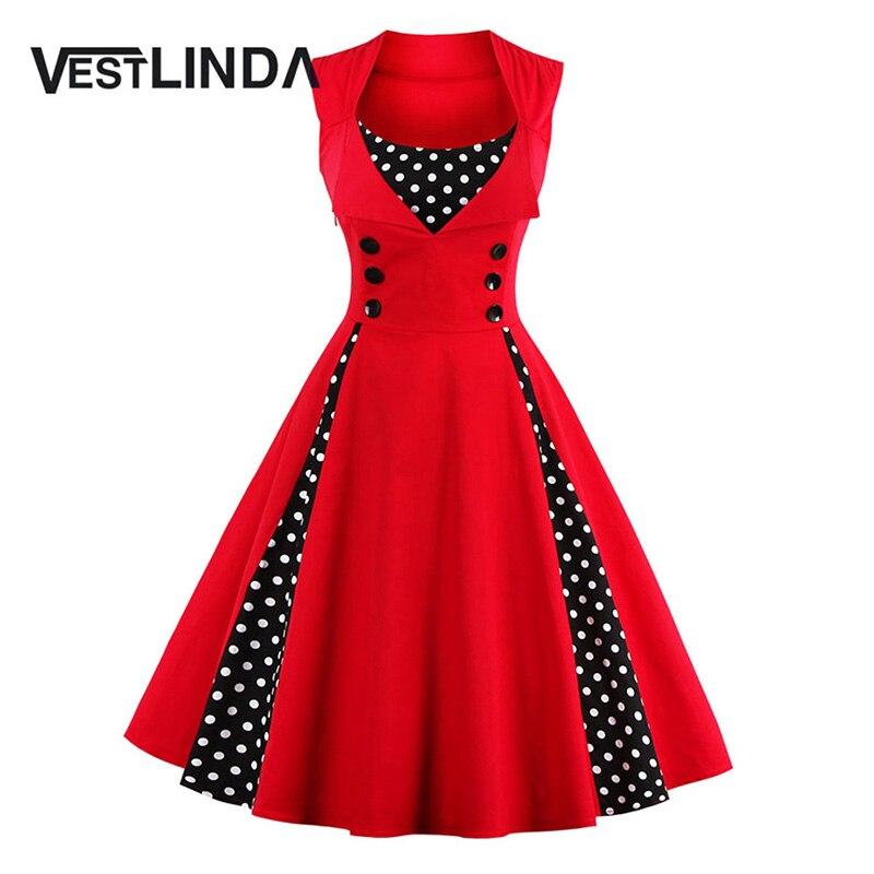 Vestlinda 50 s 60 s vintage retro vestidos rockabilly swing party dress patchwor
