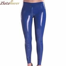 Women Dark Blue Trousers Latex Pants Crotch Zipper Legging LTW057