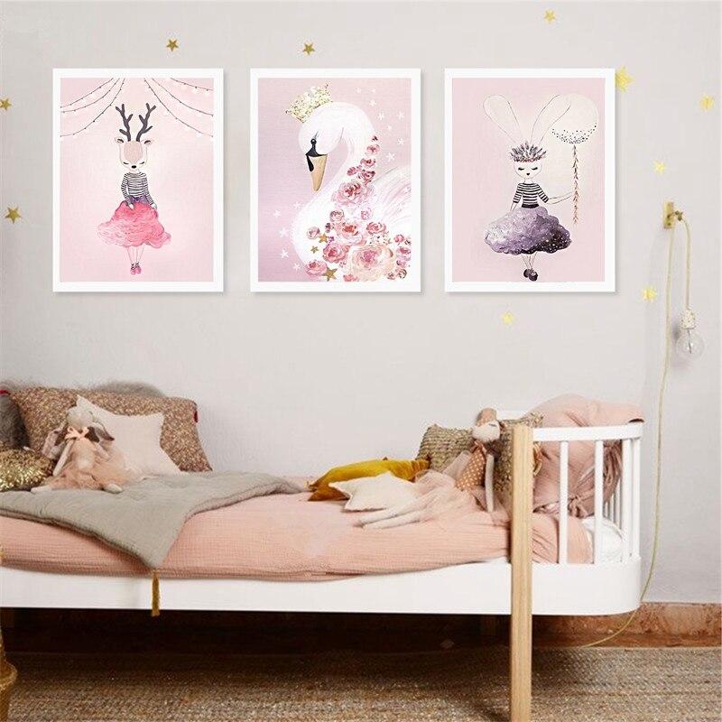 Cartoon Unicorn Canvas Prints Girs Room Decor