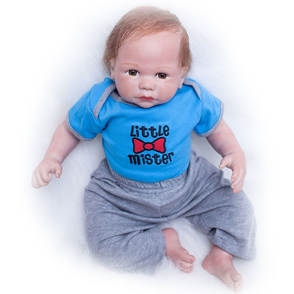 20 inch Soft Silicone Realistic Dolls Reborn Baby Toy 50 cm Cloth Body So Truly Newborn  ...