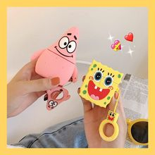 3D Cute Cartoon Patrick Star Spongebob Silicone Cover For AirPods 1 2 Bluetooth Wireless Earphone Case with Finger Ring Straps