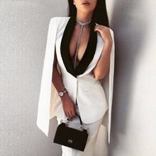 2018 New Sexy Ladies Outwear Cape Jacket Women Deep V Neck Coat Elegant Sleeveless C Femme Suit Jacket Casual Cloak Jacket