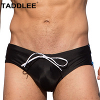 Taddlee Brand Sexy Men's Swimwear Swimsuits Swim Boxer Briefs Surf Board Trunks Shorts Gay Penis Pouch Pad Inside WJ Black Color
