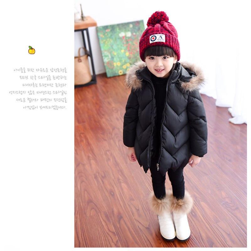 2016 New Arrival Winter Down Jacket For Girls Children s Long Coat Christmas Hat Design