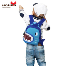Фотография NOHOO Ultralight School Bags Blue 3D Shark Kids Baby Bags Cartoon Animal Children School Bags For Girls Boys Kids Backpack