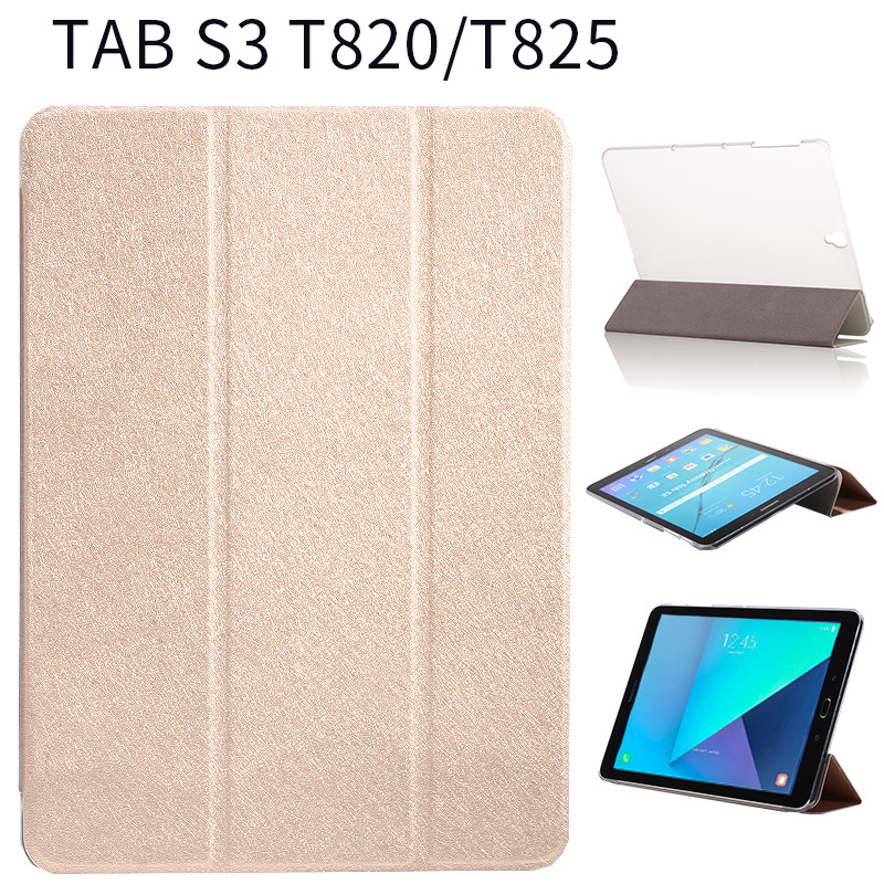 3 Folded Popular silk PU Leather Book stand smart Cover transaprent back Case For Samsung Galaxy Tab S3 9.7 T820 SM-T820 T825