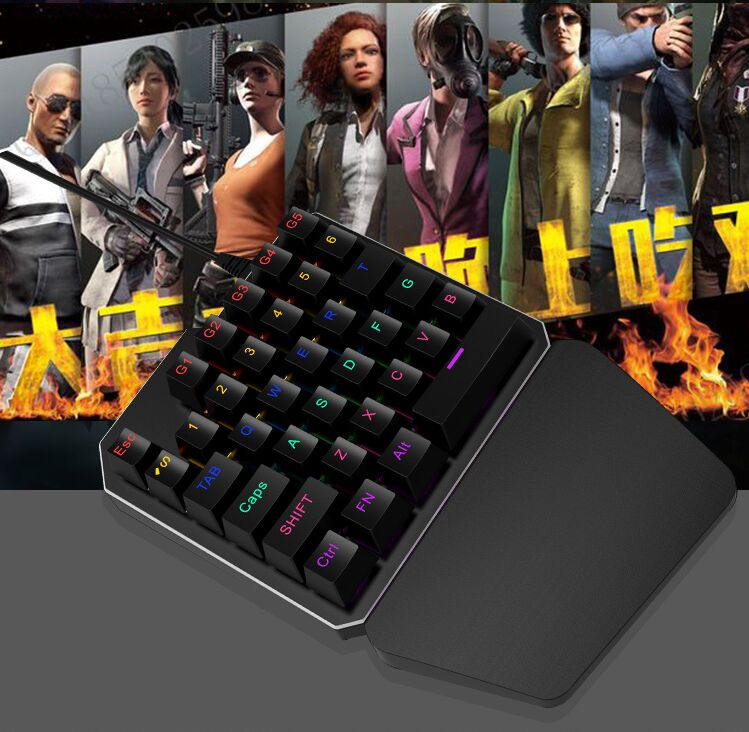 DHL 10pcs/lot 7 Colors LED 35 keys Backlight Single Hand Professional Gaming Keyboard USB Wired Anti-Ghosting Keyboard For Game