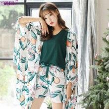 Pijama de algodón de talla grande para mujer, sexi Conjunto de pijama de manga larga, Tops, pantalones cortos, 4 piezas, ropa para el hogar, pijama Floral para mujer