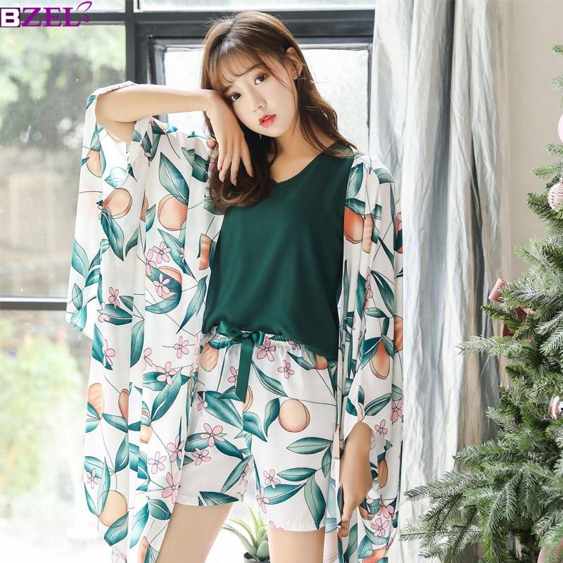 Plus Size Cotton Pyjama Women Pajama Set Sexy Long Sleeve Tops Pants Shorts 4 Pieces Home Wear Female Floral Sleepwear Suit