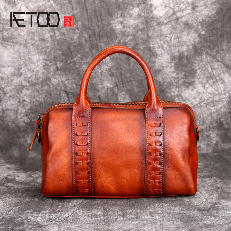 AETOO New color leather shoulder portable diagonal bag leather handbag retro original first layer leather bag female fctossr 2018 new retro genuine leather women handbag first layer of leather shoulder bag handmade leather diagonal female bags