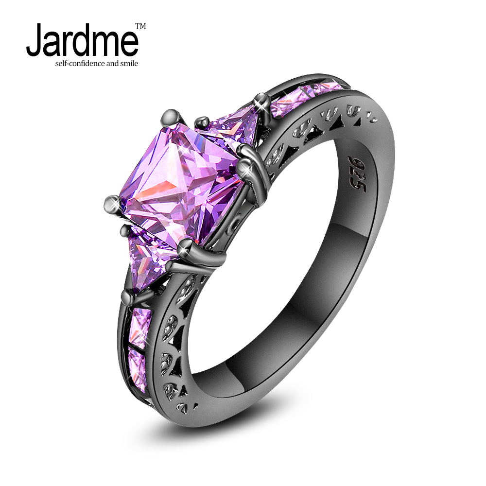 Jardme Vintage Purple Ring Black Gold Filled Zircon Ring