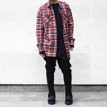 2017 NEW Quality flannel Scotland Red grid long sleeve shirts Hiphop extended curved hem oversized Men Cotton shirt