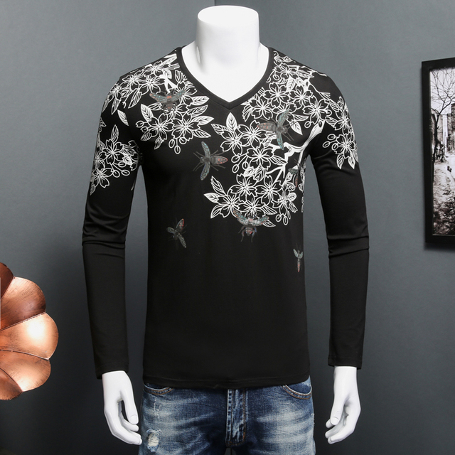 357ece0828397 New Fashion V Neck T Shirt Hommes Manches Longues Robe Mince Fit Homme T- shirts