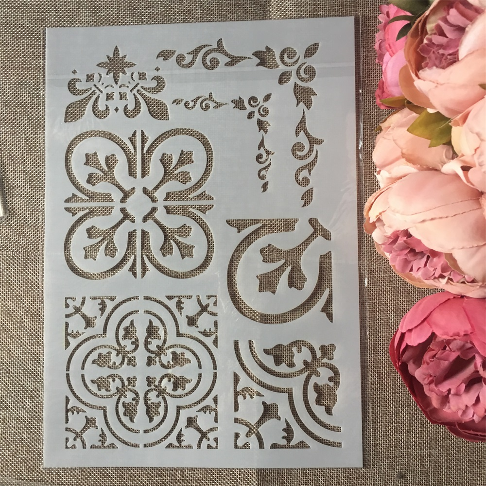 1Pcs A4 Flower Edge DIY Layering Stencils Wall Painting Scrapbook Coloring Embossing Album Decorative Paper Card Template