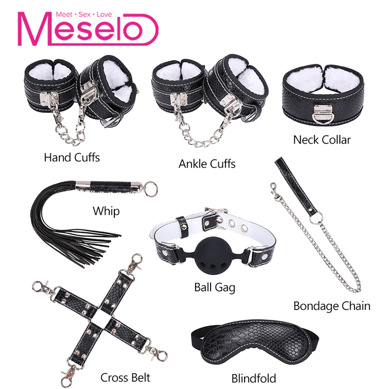 Meselo 8pcs/lot Bdsm Bondage Restraints Adult Sex Toys For Couples PU Whip Gag Mouth Ball Handcuffs Ankle Cuffs Slave Sex Game adult sex products bondage restraints 10 pieces set sex toys for couples handcuffs whip gag for adult slave game erotic toys