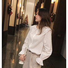 MISHOW 2019 autumn sweety blouse new fashion causal ruffle sleeve lace Bow neck single-breasted white blouse tops MX18D4515(China)