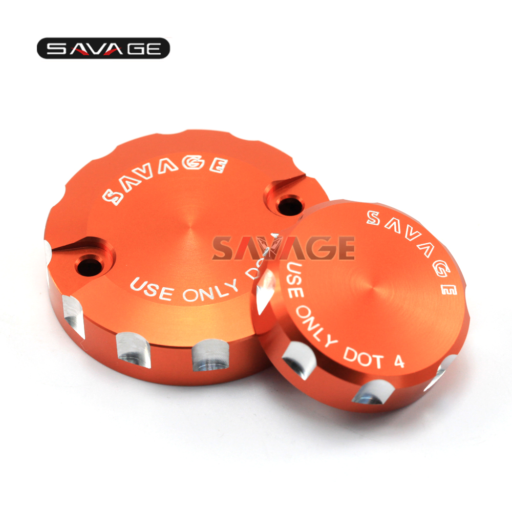 FOR KTM ADV 1190 1290/DUKE 1290 R CNC Front & Rear Brake Reservoir Cover Cap Motorcycle Accessories Orange