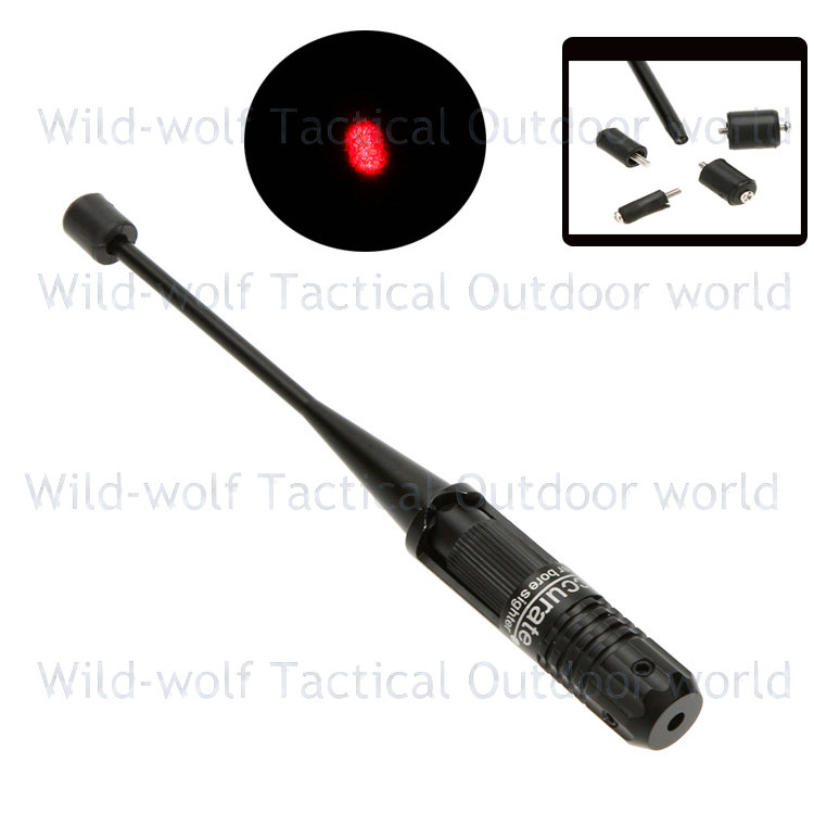 Tactical 4 Adjustable Adapters 0.22 - 0.50 five Caliber Rifle Red Dot Laser Bore sighter Laser Scope Boresighter Collimator Kit