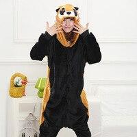 Cute Animal Onesies For Adults Flannel Overalls Kigurumi Raccoon Long Sleeve Hooded Raccoon Pajamas