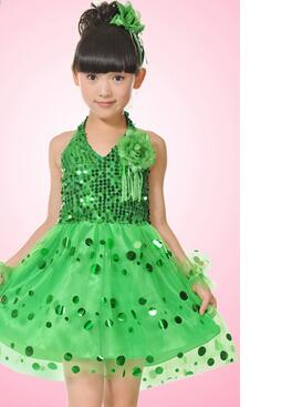 1pcs/lot free shipping children girl halter sequined dress latin sexy dress performance dancing dress 6sizes