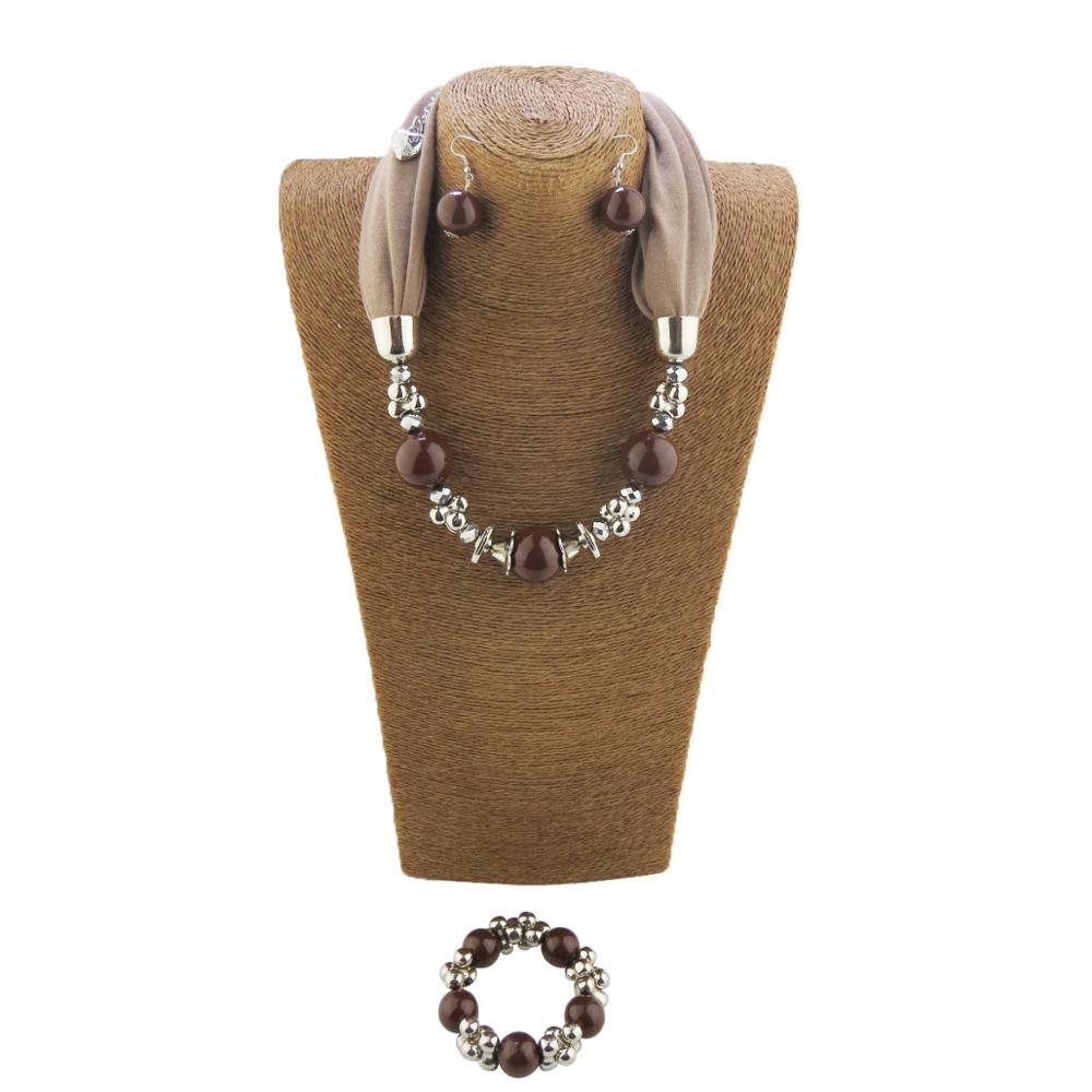 Set Style Beads Necklace Ladies Scarf Scarf Bracelet Jewelry Eardrop Pendant Free Shipping