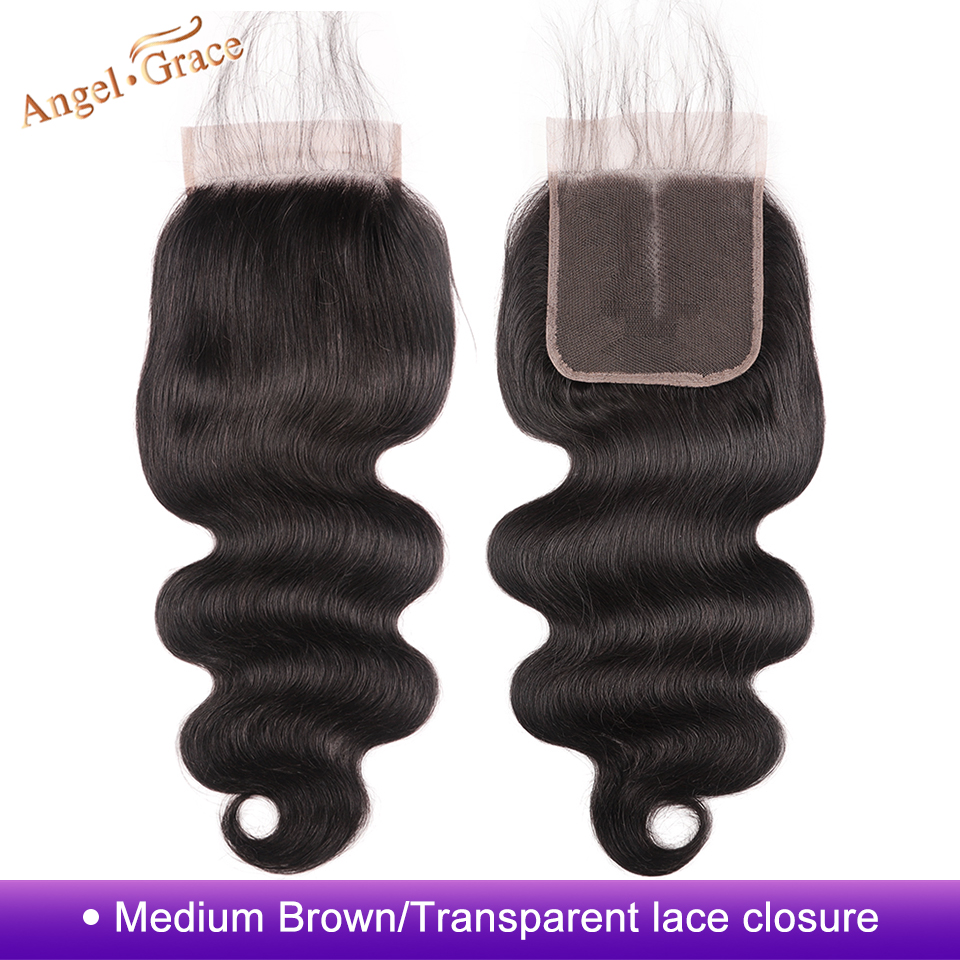 Angel Grace Hair Brazilian Body Wave Hair Closure Medium Brown/ Transparent Lace Closure Remy Human Hair 4*4 Middle/Free Part-in Closures from Hair Extensions & Wigs    1