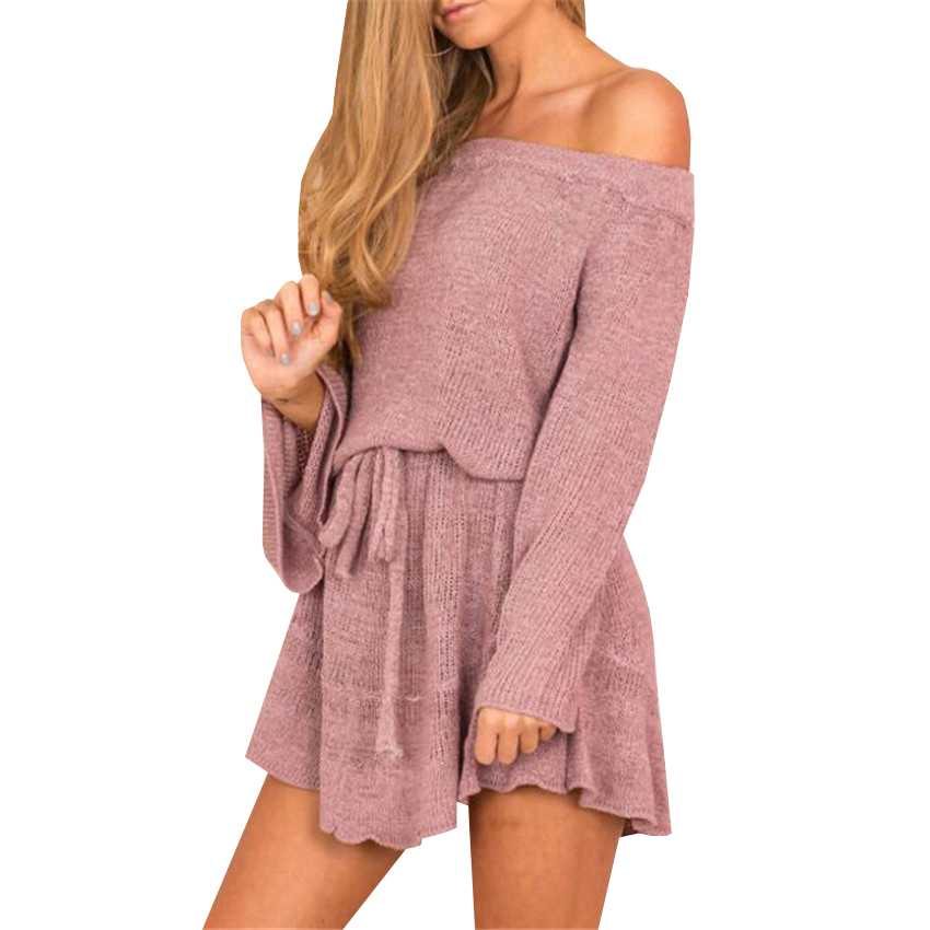Autumn Women Knitted Dress New Sexy Sashes Off Shoulder Sweater Dresses Casual Loose Elastic Flare Sleeve