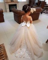 2018 Последние Милые Jewel бальное платье средства ухода за кожей шеи с длинным рукавом кружево аппликация дети обувь для девочек пышные платья