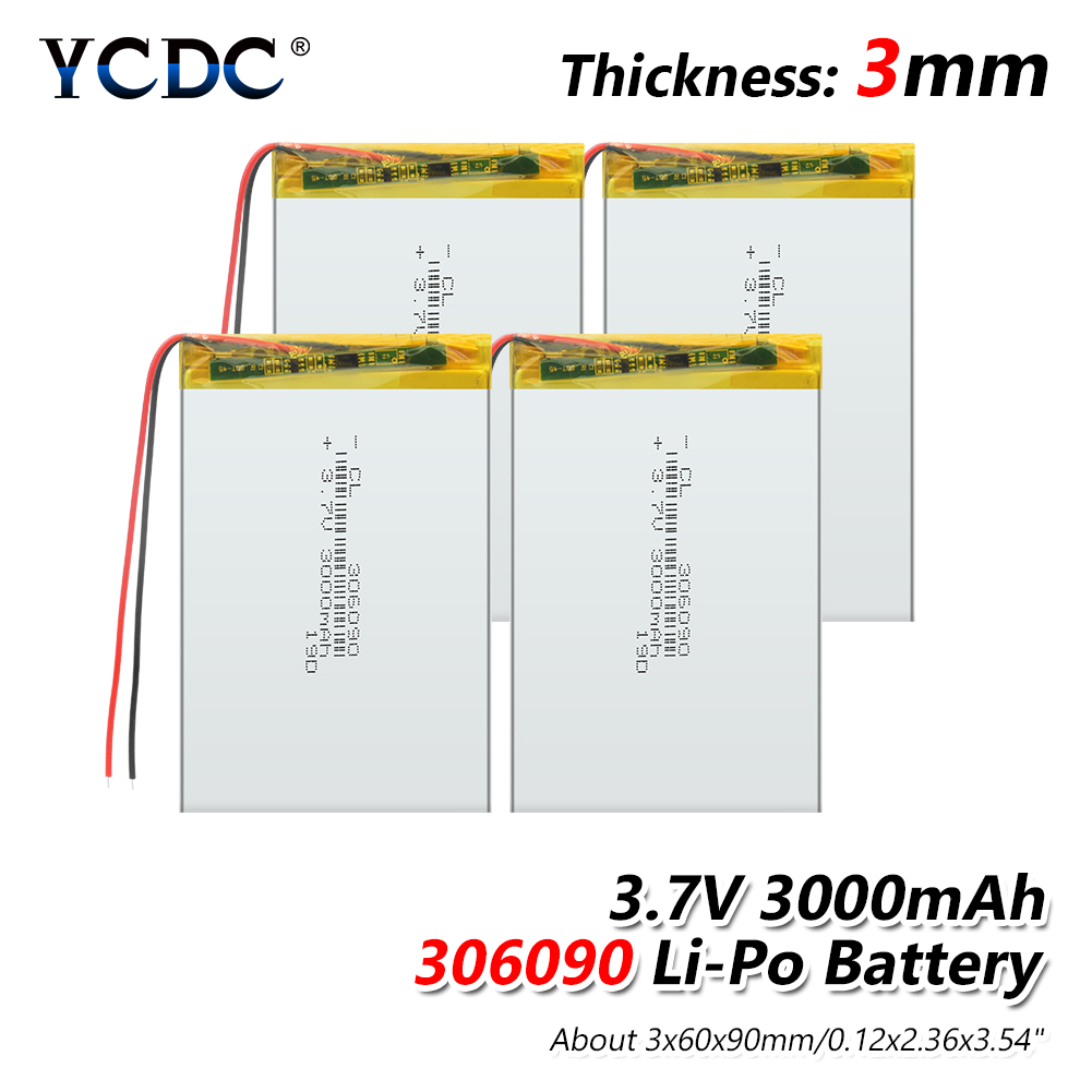 3.7V 3000mAh 306090 Li-ion Lipo Battery Rechargeable Universal Backup Power Replacement Battery For 7 Inch Tablet PC MP4 GPS PSP