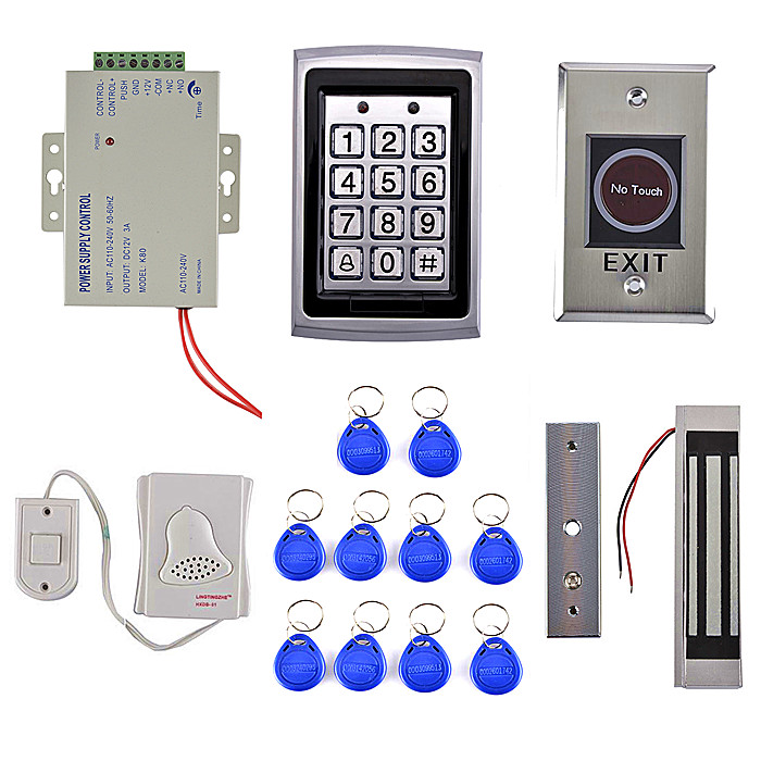 125KHz RFID Metal Password Keypad Door Access Control Security System Kit + Electric Magnetic Lock+ IR No Touch Exit Button 7612 diysecur 280kg magnetic lock 125khz rfid password keypad access control system security kit exit button k2