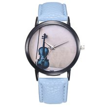 Ladies Watch Temperament Violin Pattern Quartz Movement Clock Everyday Work is Very Suitable For Women's Watches Kol Saati 2019(China)