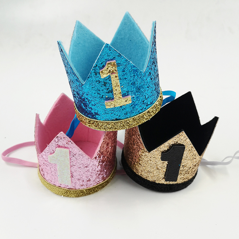 Boy Blue Silver First Birthday Hat Girl Gold Pink Priness Crown Number 1st 2 3 Year Old Party Glitter DIY Decor