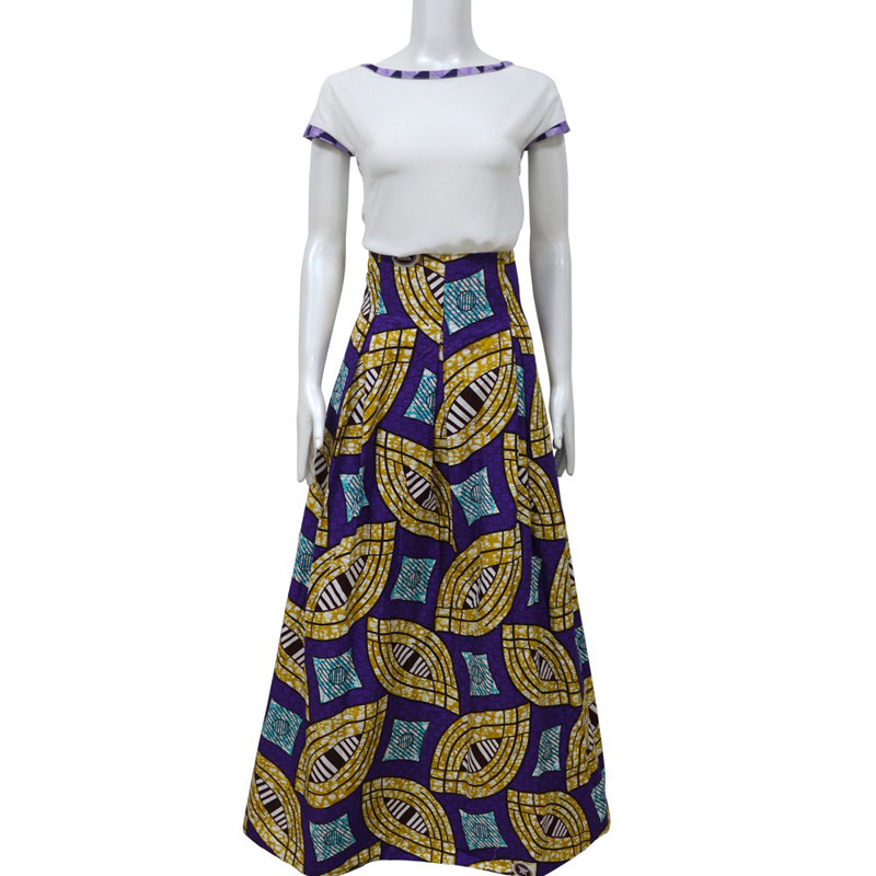 Cheap price african ankara skirt with two side pockets high waist african maxi skirt with beautiful print 100% cotton