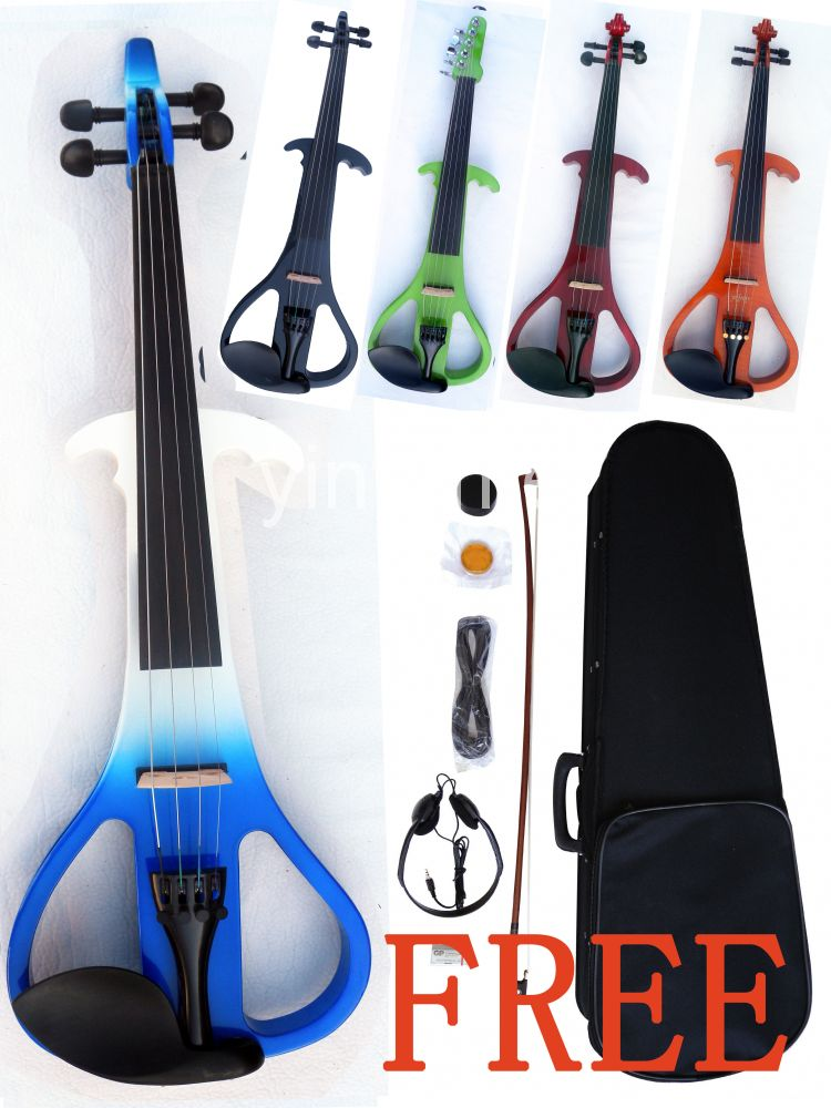 New 4/4 Electric Violin Woderful SOund Solid Wood Ebony Part Yinfente Fiddle 4 4 electric cello 4 string silent powerful sound ebony part top grade you can choose color i can make for you