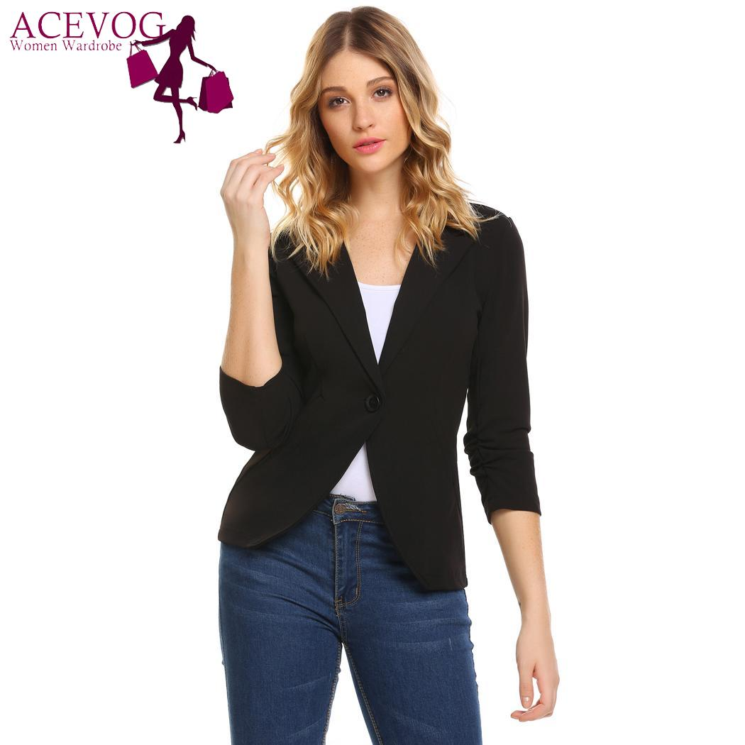 ACEVOG Casual Lapel Ruched Sleeve Solid One Button Slim Fit Womens Blazer