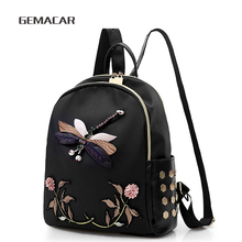 New Embroidered Backpack Women Elegant Oxford Cloth Floral Female Bag Small Casual Personality Rivets Dragonfly