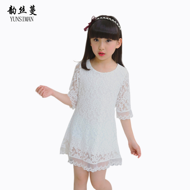 US $19.98 |Children Dresses Plus Size Dress for 4 6 8 10 to 12 Year Old  Half Sleeve White Lace Mini Dresses Casual Kids Girls Costume 38C3A-in  Dresses ...