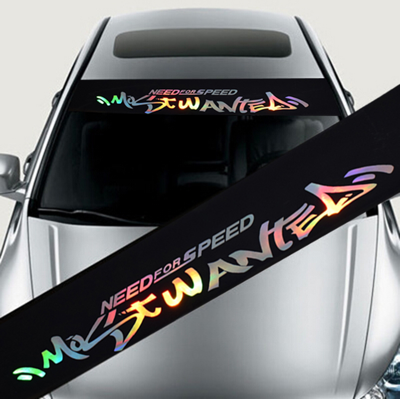 Laser Reflective Letters Auto Car Front Window Windshield Decal Stickers For BMW For Ford Focus For Mazda - Car Styling Fashion spider web hood rear window auto car vinyl decal stickers