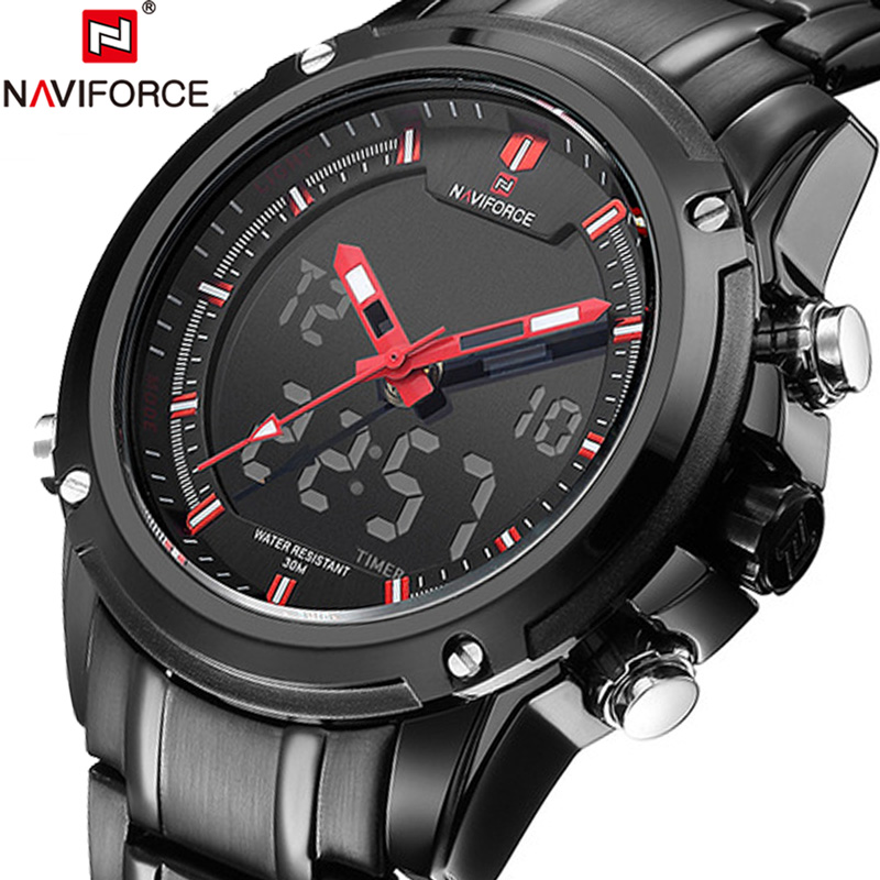 NAVIFORCE Men Watches Sport Mens Watches Top Brand Luxury Military Army Steel Analog LED Quartz Male Clock Digital Watch Wrist аксессуар чехол накладка samsung sm g928 galaxy s6 edge clear cover silver sam ef qg928csegru