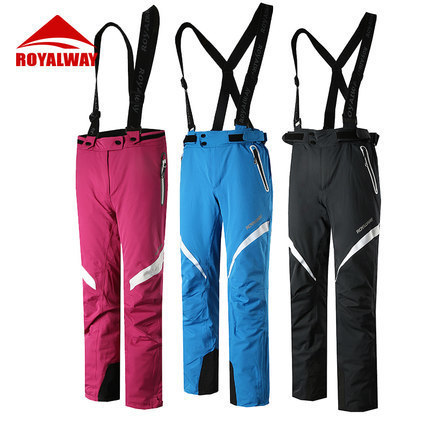 ROYALWAY Men Skiing Pants Ski Snowboarding High Quality Bib Pants Windproof Breathable Waterproof Trousers 2017 New#RFJL4518G