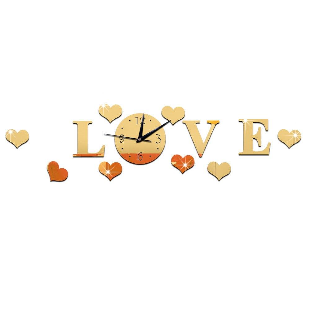 DIY 3D зеркальные настенные наклейки настенные часы художественная роспись домашний Декор Гостиная ТВ Фоновые наклейки настенные часы кварцевые иглы - Цвет: B Gold