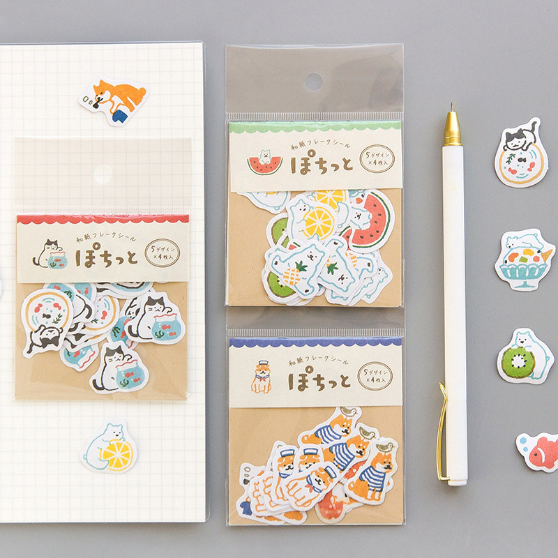 20Pcs Cute Stationery Stickers Bullet Journal Paper Sticker Kawaii Cat Dog Bear Stickers For Kids DIY Scrapbooking Diary Albums