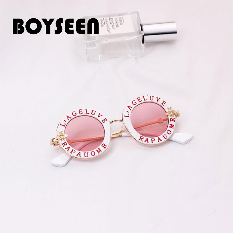Boyseen Little one 2018 New Spherical Body Sun shades Youngsters Gold Bee Youngsters Glasses Uv400 Child Summer time Eyeglasses Cute Lady Eyewear 107