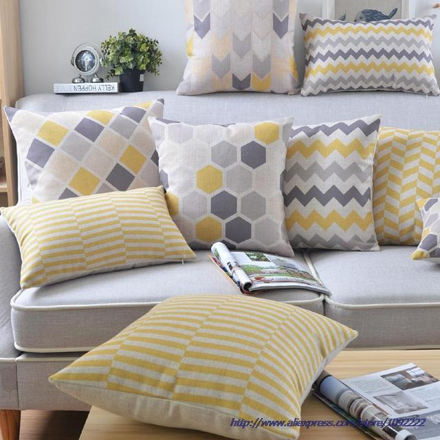 Nordic Style Cushion Cover Home Decor Yellow Pillow Cases Geometric Decorative Pillows Case Linen Gray Throw