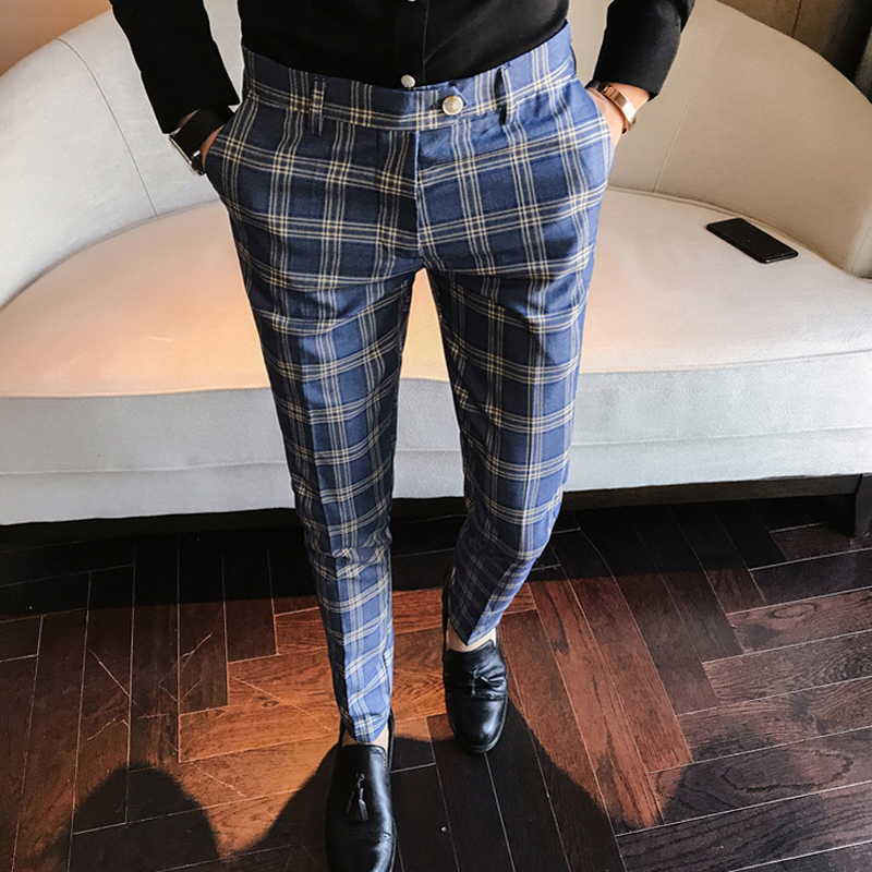 men dress pant plaid business casual slim fit pantalon a. Black Bedroom Furniture Sets. Home Design Ideas