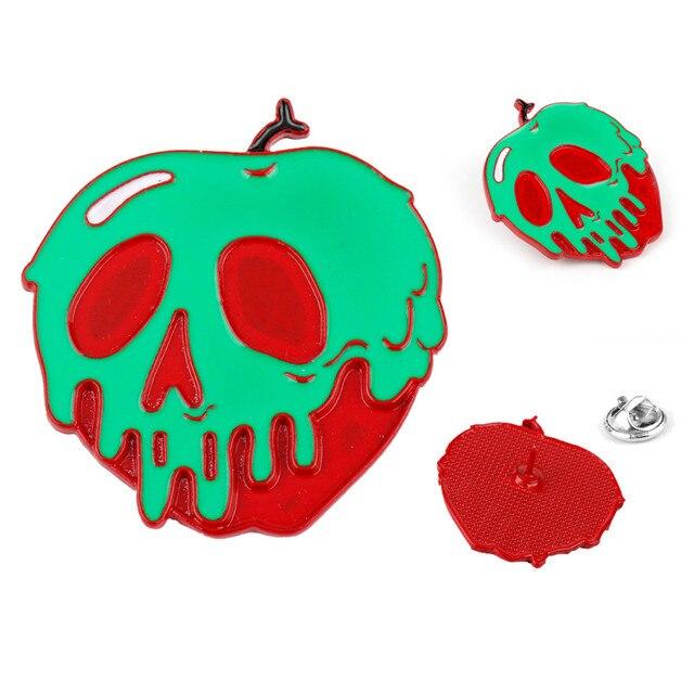 Halloween Horror Hijau Merah Tengkorak Bros Festival Fashion Perhiasan Enamel Pin Pria Wanita Anak Bros