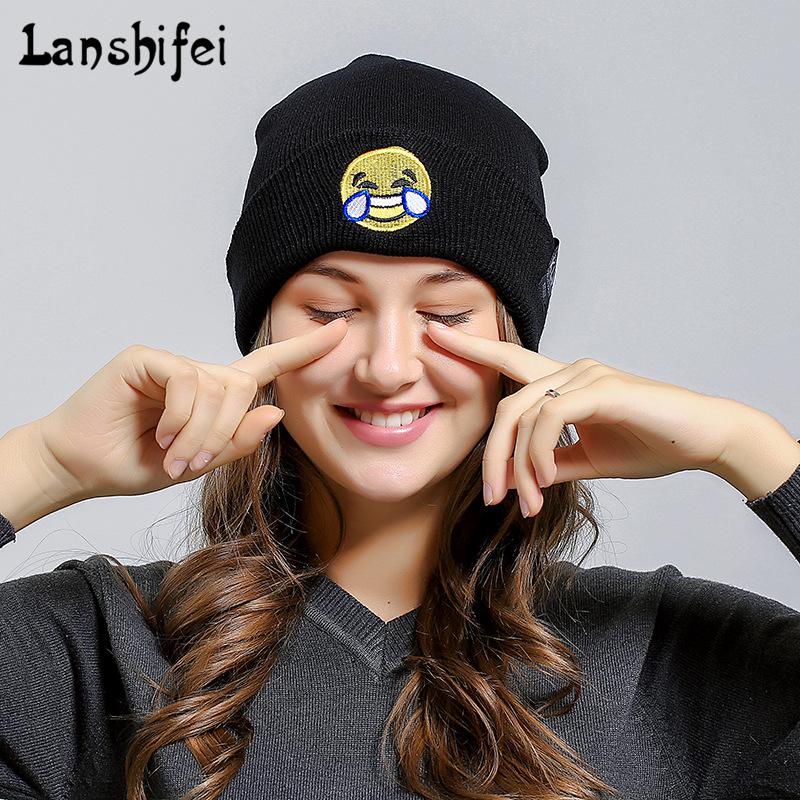 Emoji Cartoon Knitting Wool Hat Skullies Beanies for Men Women Outdoor Warm Keeping Flanging Cap Hip Hop Hats For Dropshipper skullies